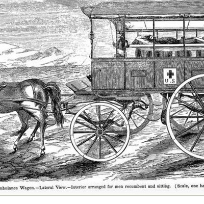 Tavola raffigurante l'ambulanza di Evans, da: History and description of an ambulance wagon, constructed in accordance with plans furnished by the writer (Tavola II)
